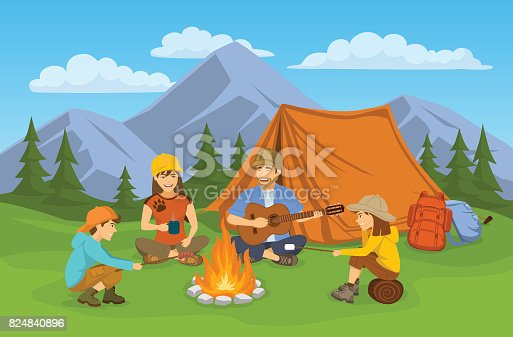 627343204 istock photo Family sitting around campfire and tent. camping hiking adventure trip day scene 824840896