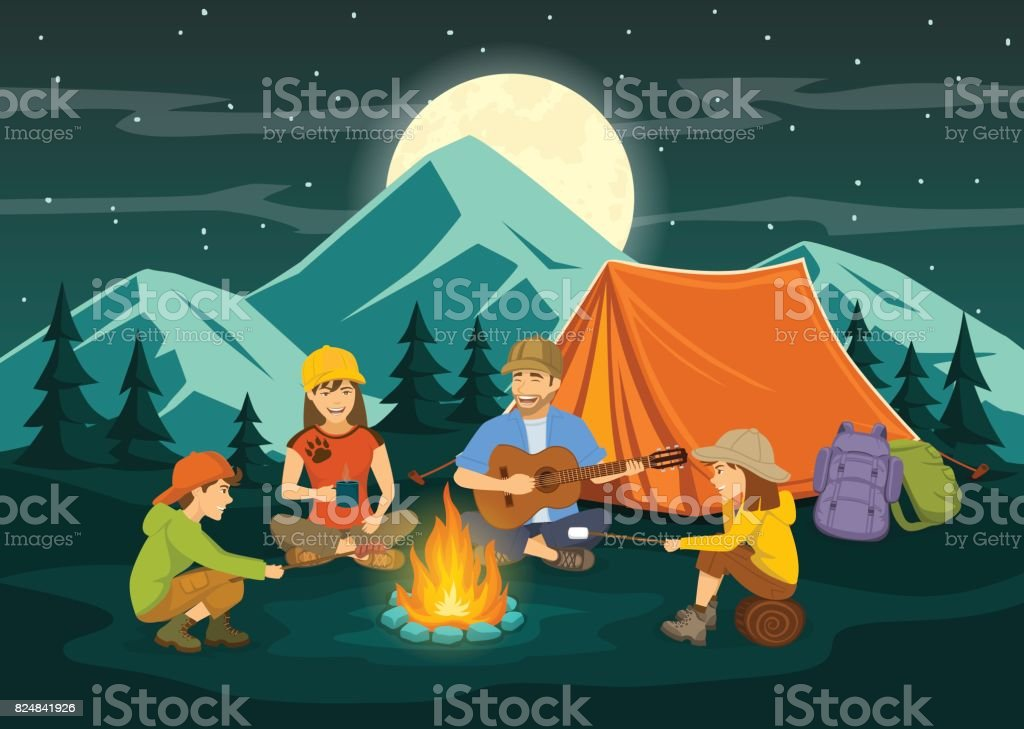 Family sitting around campfire and tent. night scene vector art illustration