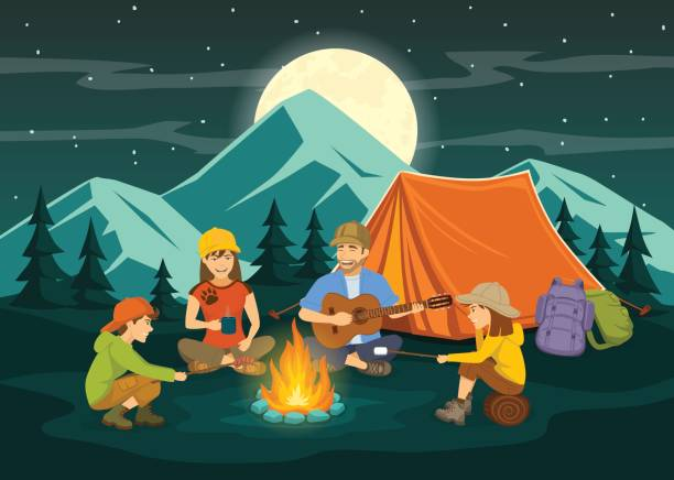 Family sitting around campfire and tent. night scene vector art illustration