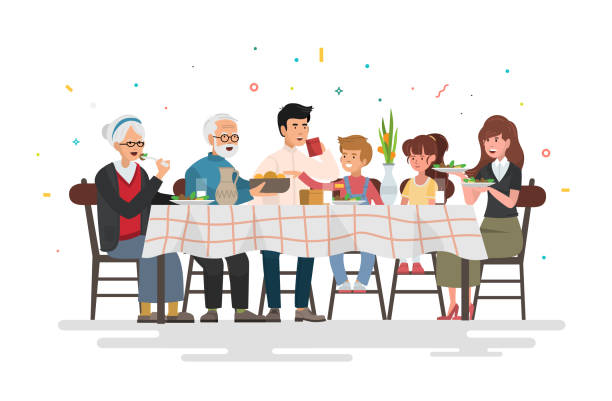 illustrazioni stock, clip art, cartoni animati e icone di tendenza di family sitting at dining table. people eat festive food, holiday talking and family dinner reunion. vector illustration. - cena