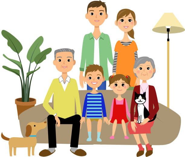 Family sitting in a sofa vector art illustration