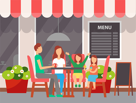 Family Sitting in Cafe Outdoor, Leisure Vector