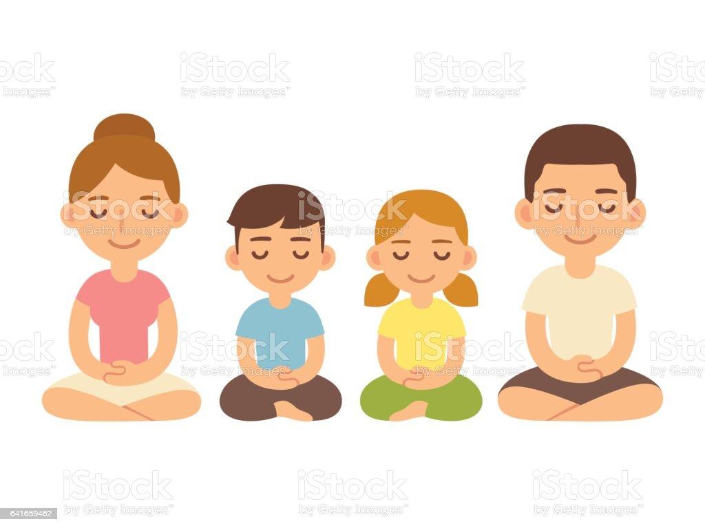 Family sitting in meditation. vector art illustration