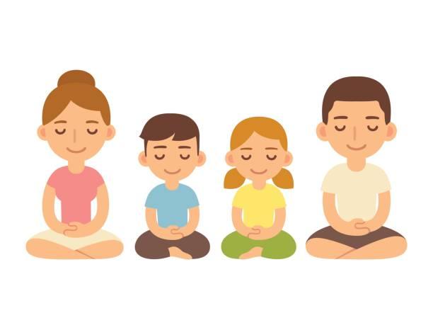 illustrazioni stock, clip art, cartoni animati e icone di tendenza di family sitting in meditation. - couple portrait caucasian