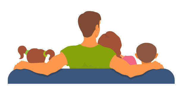 Family sitting on a sofa together, watching tv, resting. View from back. Togetherness, leisure time. Adult and kids. Vector cartoon illustration. watching tv stock illustrations