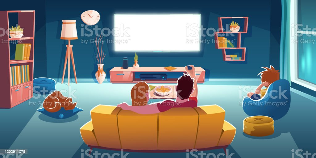 Family Sitting On Sofa And Watch Tv In Living Room Stock Illustration Download Image Now Istock