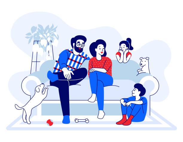 illustrazioni stock, clip art, cartoni animati e icone di tendenza di famiglia seduta sul divano a parlare. genitori, figli, madre, padre, fratello, sorella si divertono con i cani nella moderna casa accogliente. illustrazione vettoriale di cartoni animati e arredamento per la casa - bambino cane