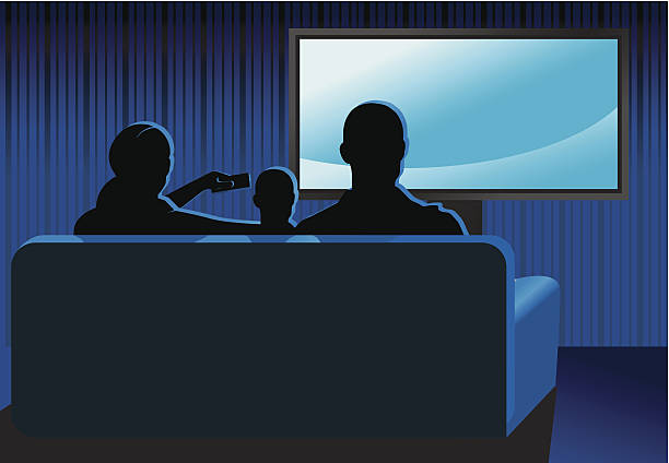 Family sitting together on couch watching TV Family Watching TV watching tv stock illustrations