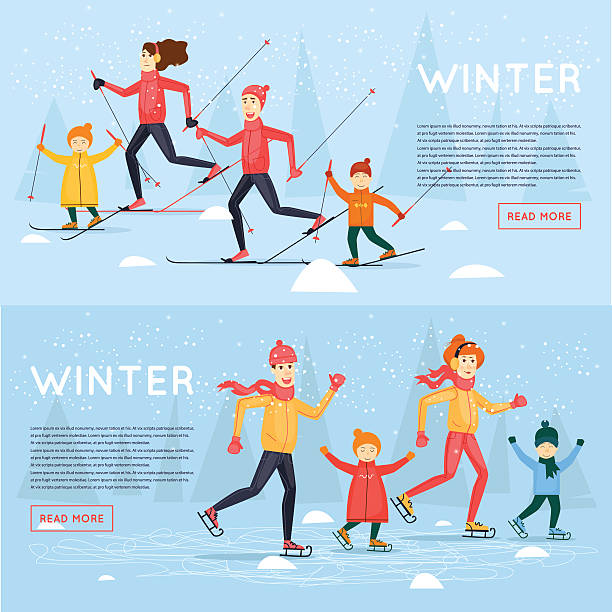 stockillustraties, clipart, cartoons en iconen met family skiing and skating. - family winter holiday