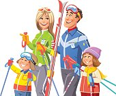 Vector illustration of a young family with two children, a boy and a girl, going skiing, isolated on white. The father is carrying his skis, the mother is gesturing to move on and the children are laughing and expressing their joy.