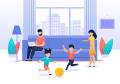 Family Spending Time at Home. Busy Father Sitting on Sofa in Living Room. Active Children Playing Ball. Mom Tries Calming Down them. Parents and Kids. Values and Priorities. Vector Flat Illustration