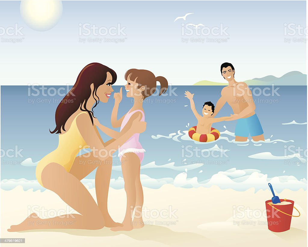 Family Spending Time Playing on Beach and in Water vector art illustration
