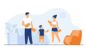 Family sport activity concept. Parents and child lifting weight, exercising with dumbbells at home. Vector illustration for quarantine, body training, indoor workout topics