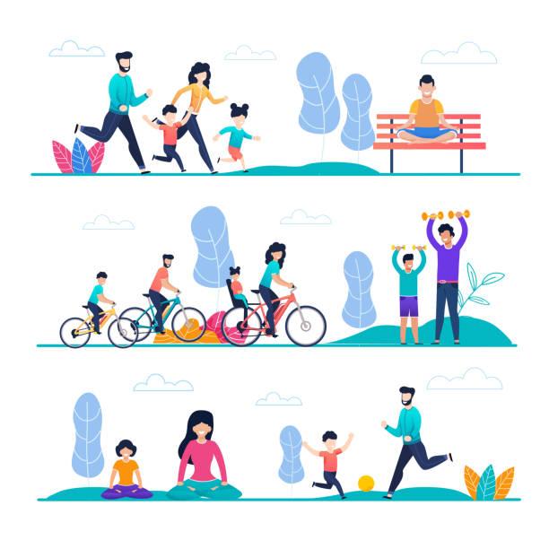 Familiensport und Outside Activity Flat Cartoon Set – Vektorgrafik