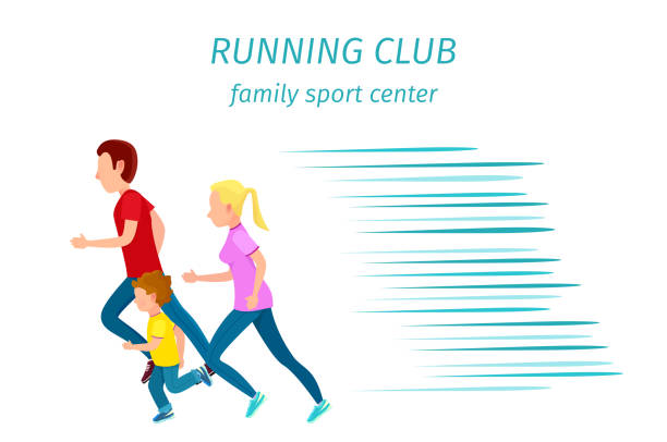 family sport center running club health programm - halbschuhe stock-grafiken, -clipart, -cartoons und -symbole