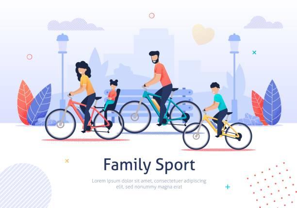 ilustraciones, imágenes clip art, dibujos animados e iconos de stock de deporte familiar, padres y niños montando bicicletas. - andar en bicicleta