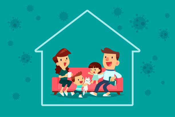 Familie bleibt während der Viruspandemie in ihrem Haus – Vektorgrafik
