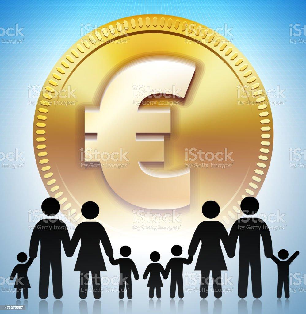 Familie Strichmännchen Auf Den Gold Euromünze Stock Vektor Art Und
