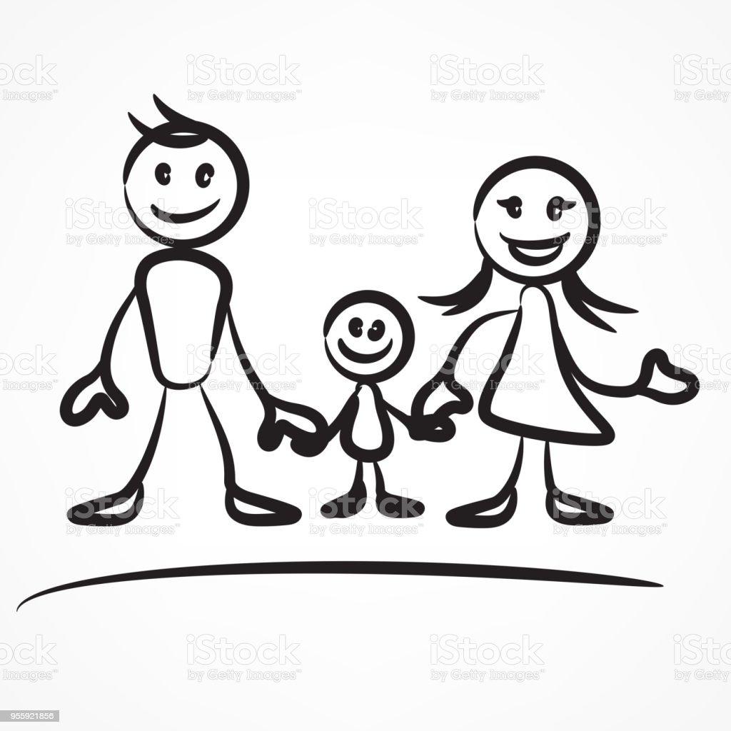 家族のスティック図 ベクターアートイラスト