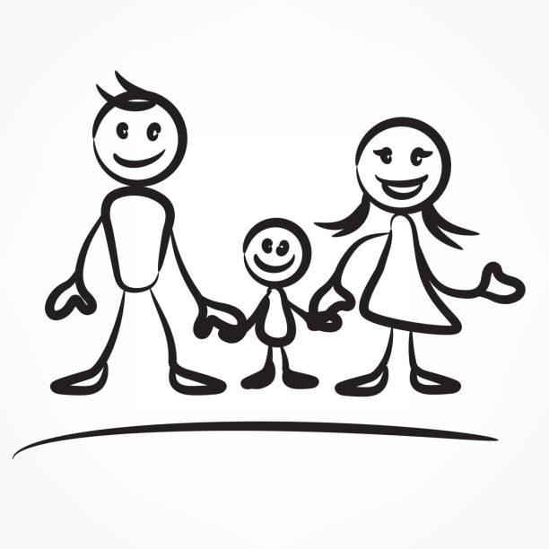 家族のスティック図 - 娘点のイラスト素材/クリップアート素材/マンガ素材/アイコン素材