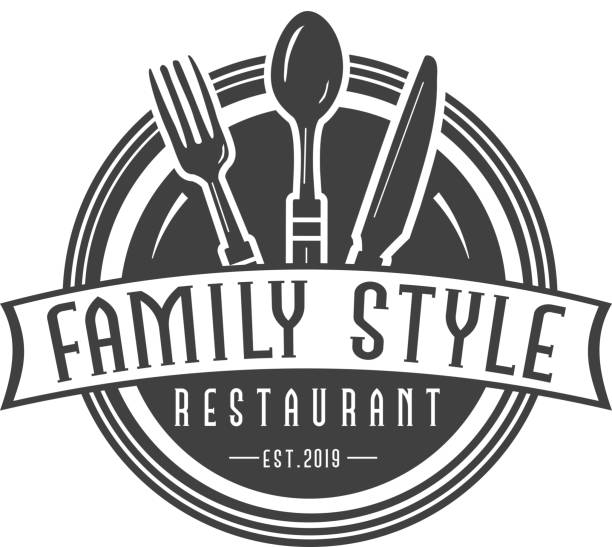 Family Style Labels with text designs as well as restaurant utensils vector art illustration