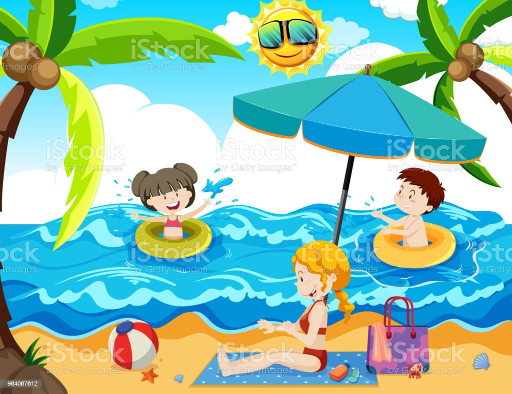 A Family Summer Holiday at Beach - Royalty-free Adult stock vector