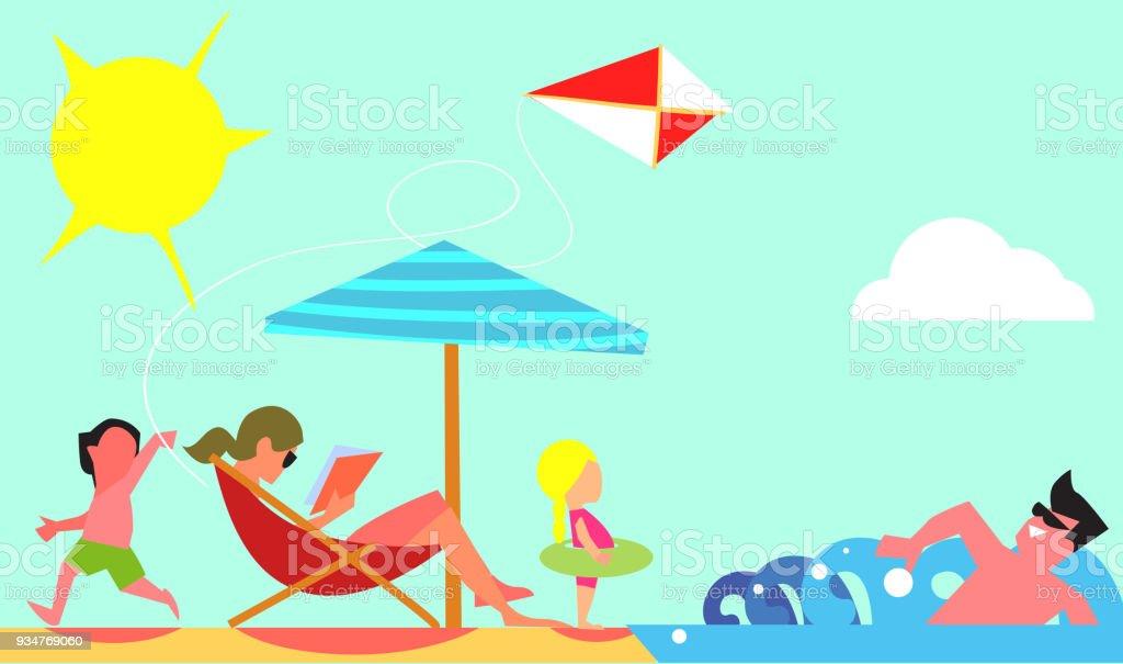 Family Summer Vacation Flat Design Vector Concept vector art illustration