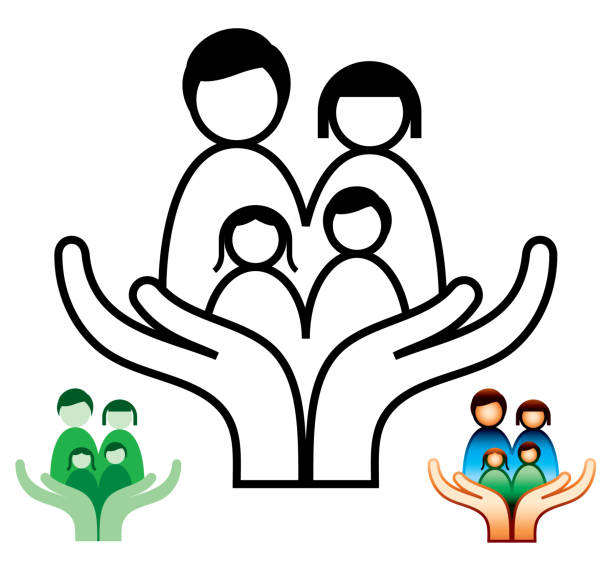 Family Support and Social Care Icons vector art illustration