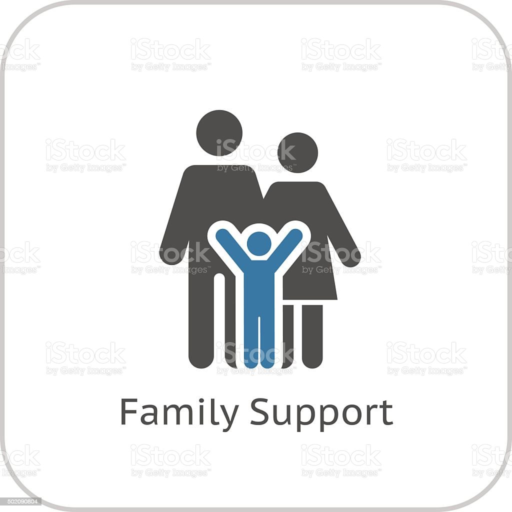 Family Support Icon. Flat Design. vector art illustration