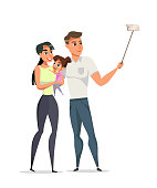 Family making selfie flat vector illustration. Young mother and father with little daughter cartoon characters. Happy parents with child on white background.