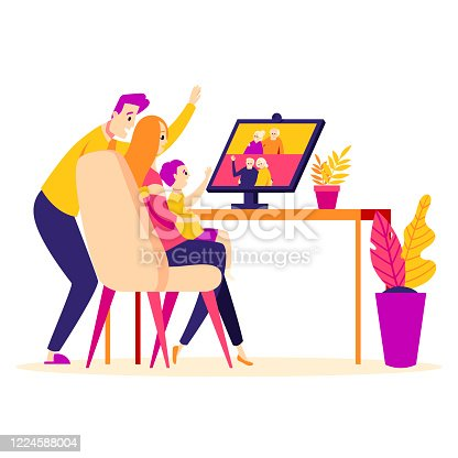 Family talk by video conference with elderly couples: grandfathers and grandmothers. Parents and baby online via video chat at home. Flat style illustration