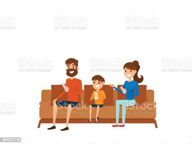 Family technology concept family sitting on sofa in living room and vector id664337148?b=1&k=6&m=664337148&s=612x612&h=y8nfspkurxhsgvemgsmu4fcp2bddxby xjsnmhemyg0=