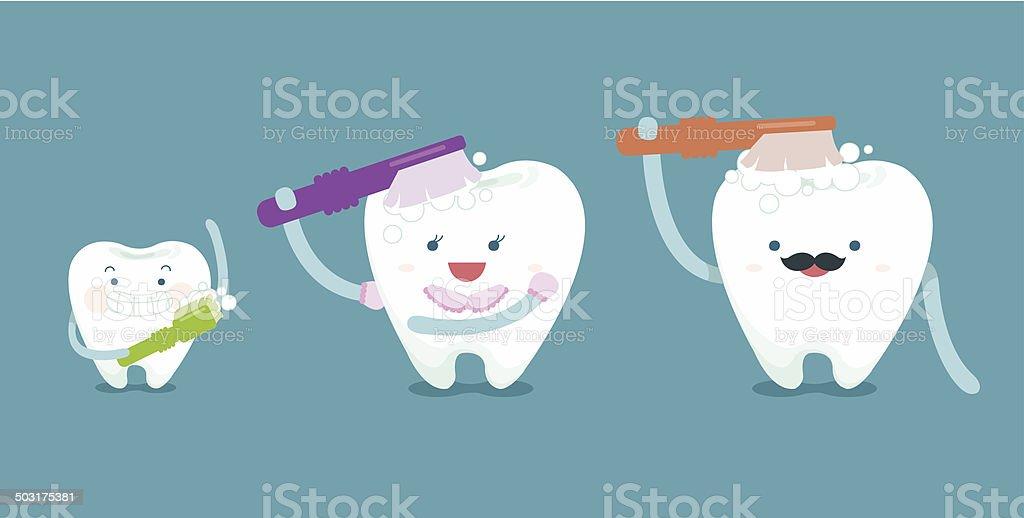 Family teeth are brushing vector art illustration