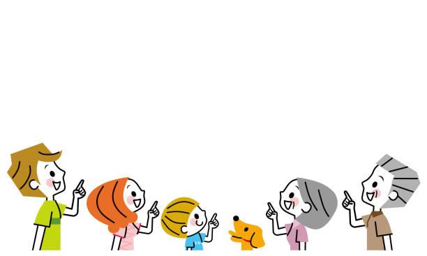 指を指す家族。 - 家族 日本人点のイラスト素材/クリップアート素材/マンガ素材/アイコン素材