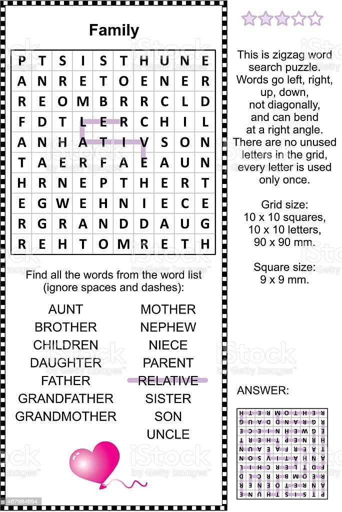 Family themed wordsearch puzzle vector art illustration