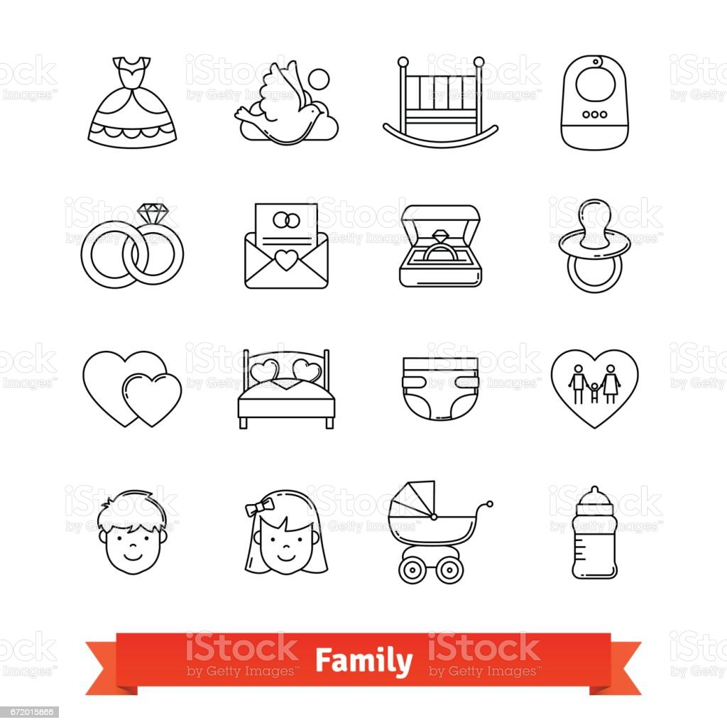 Conjunto de ícones de arte fina linhagem - ilustração de arte em vetor