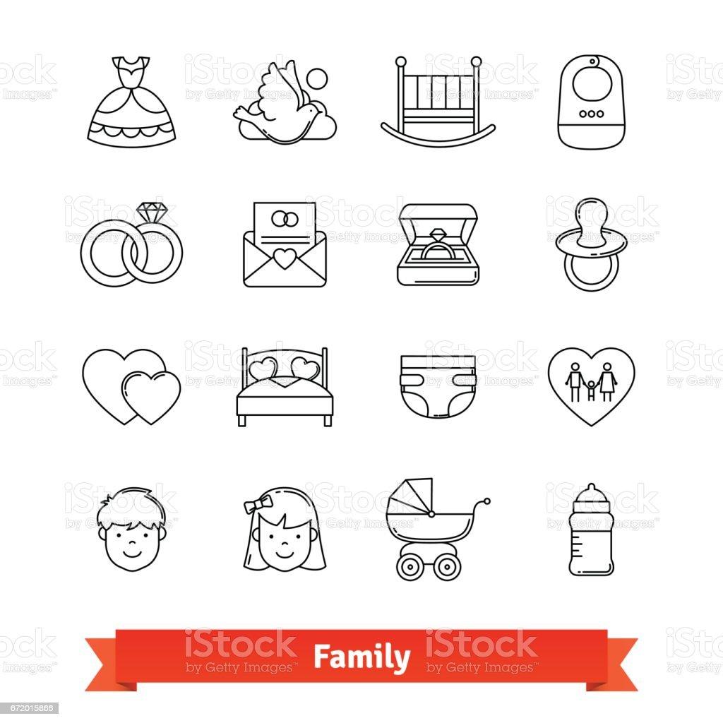 Family thin line art icons set vector art illustration