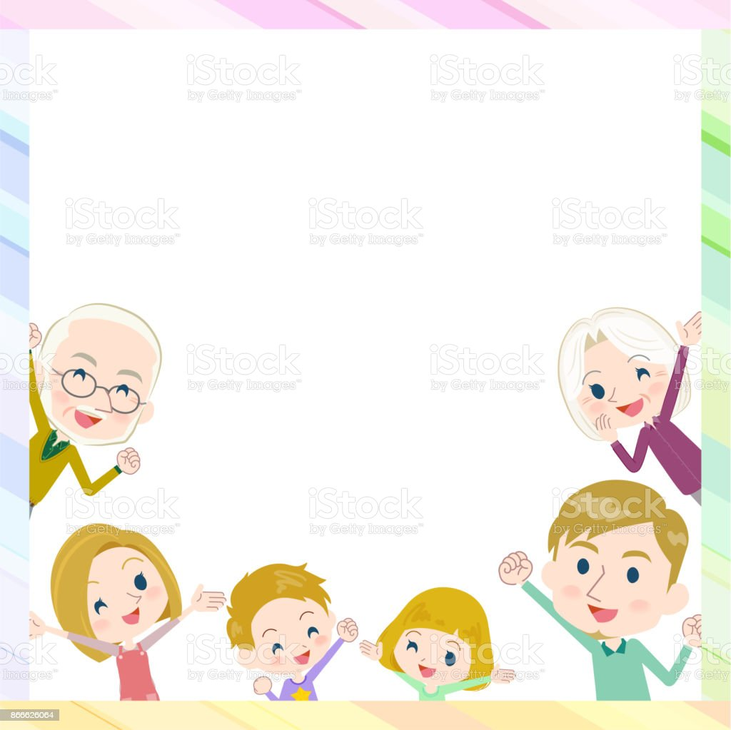 Family Three Generations Whitegather In Frame Stock Vector Art ...
