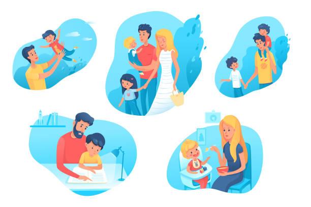 bildbanksillustrationer, clip art samt tecknat material och ikoner med familje tid platta illustrationer som - pappa son