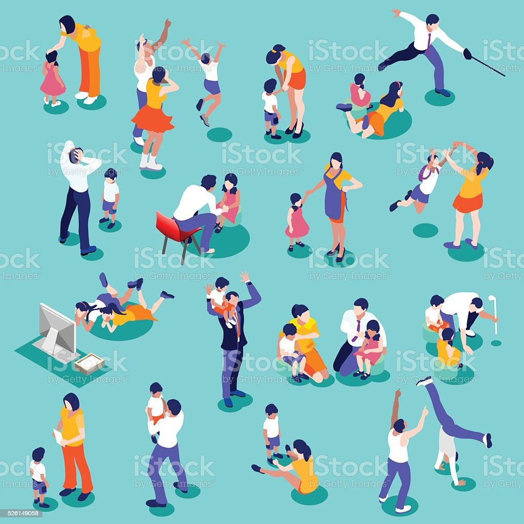 Family Time Set Isometric People vector art illustration