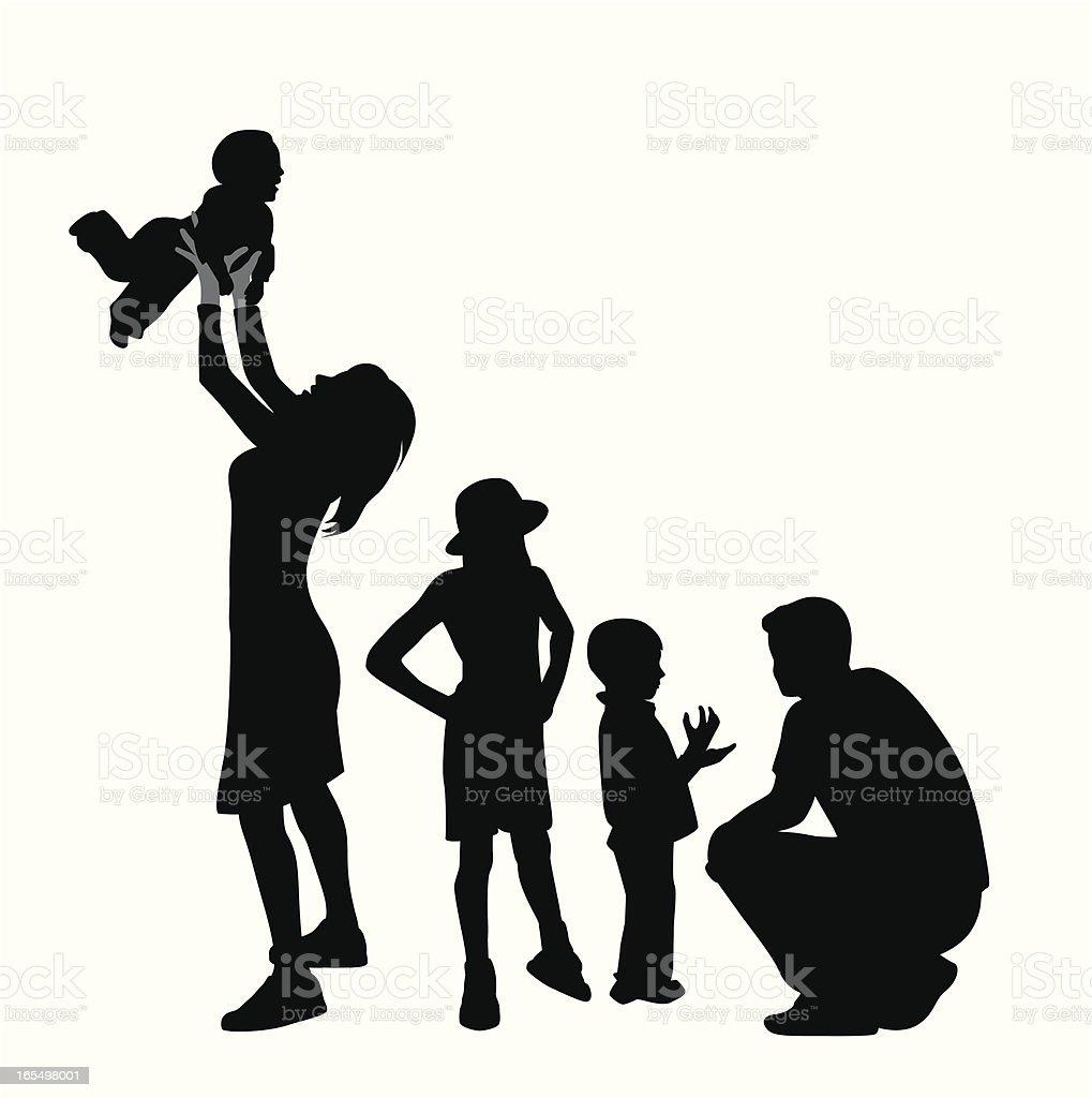 Family Time Vector Silhouette vector art illustration