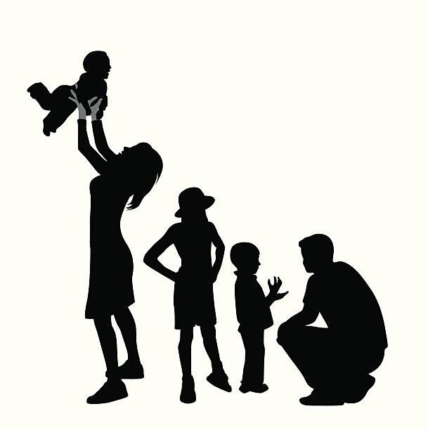 bildbanksillustrationer, clip art samt tecknat material och ikoner med family time vector silhouette - parent talking to child