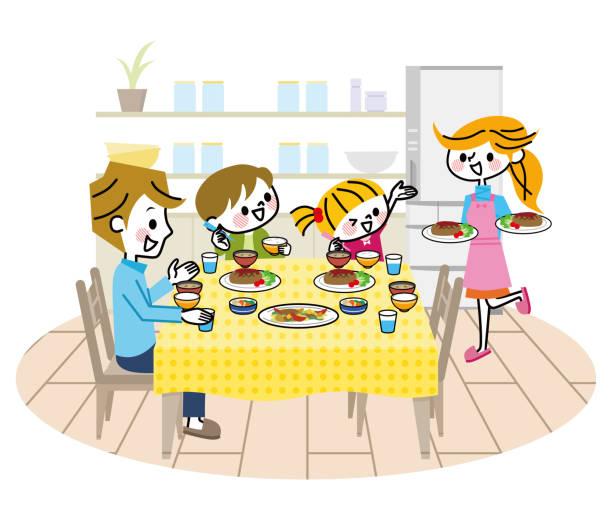 日本人 家族 食事 イラスト素材 Istock