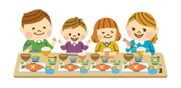 家族が食べること - 家族 日本人点のイラスト素材/クリップアート素材/マンガ素材/アイコン素材