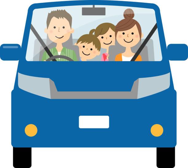 車で外出する家族 - 母娘 笑顔 日本人点のイラスト素材/クリップアート素材/マンガ素材/アイコン素材