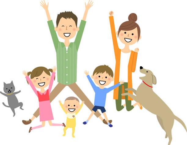 ジャンプする家族 - 母娘 笑顔 日本人点のイラスト素材/クリップアート素材/マンガ素材/アイコン素材