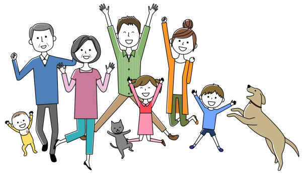 Family to jump - illustrazione arte vettoriale