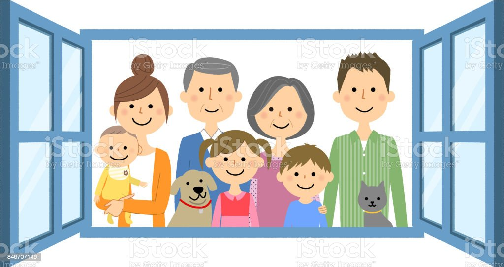 Family to look out from the window vector art illustration