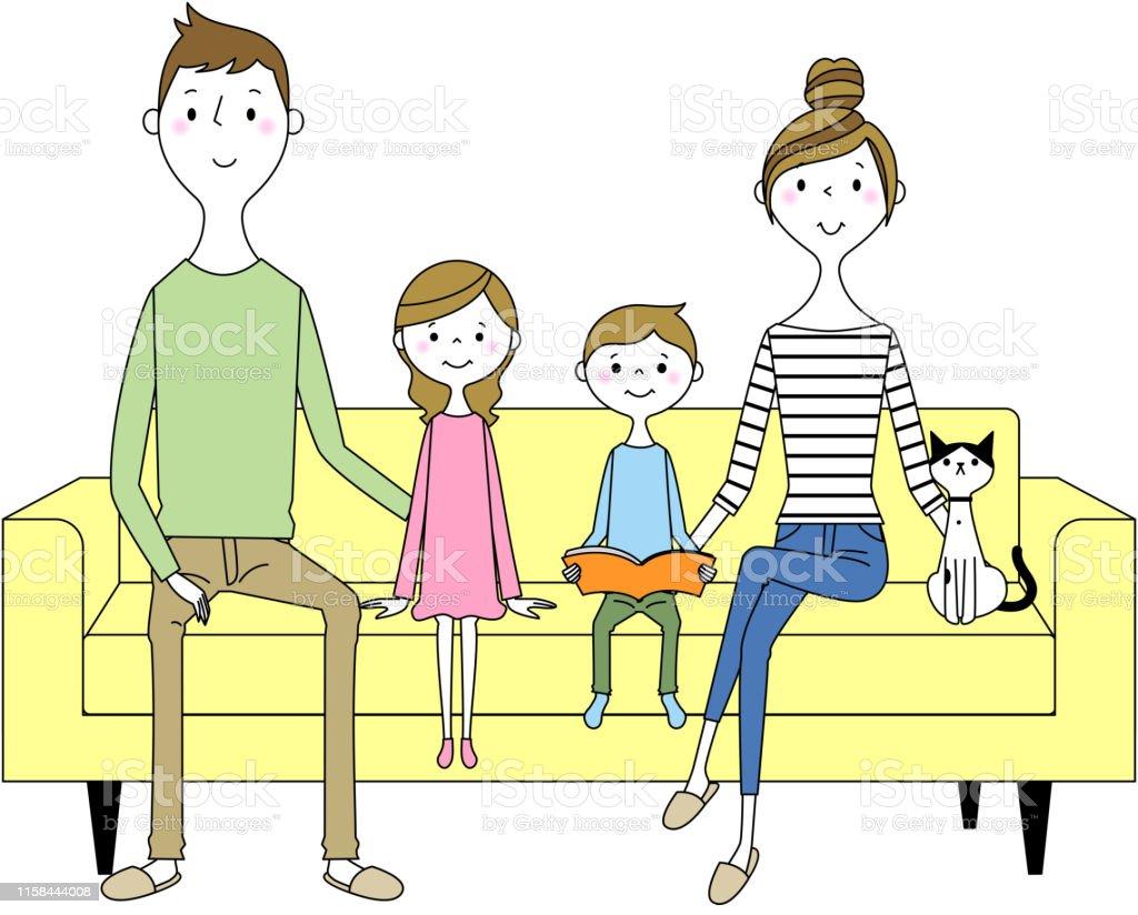 ソファでリラックスする家族 - イラストレーションのロイヤリティフリーベクトルアート