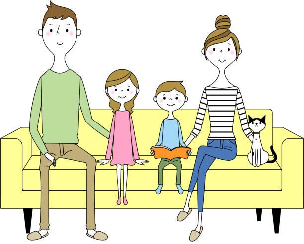 ソファでリラックスする家族 - 家族 日本人点のイラスト素材/クリップアート素材/マンガ素材/アイコン素材